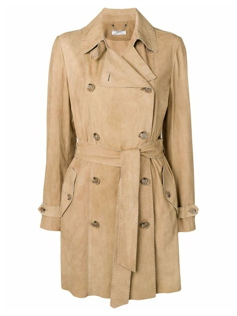 Desa 1972 suede trench coat - Neutrals