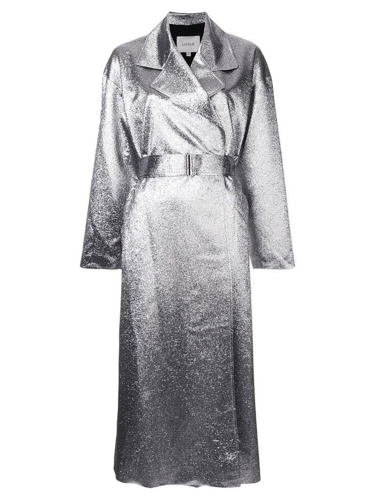 Layeur metallic longline coat - Silver
