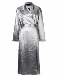 Layeur metallic longline coat - Silver