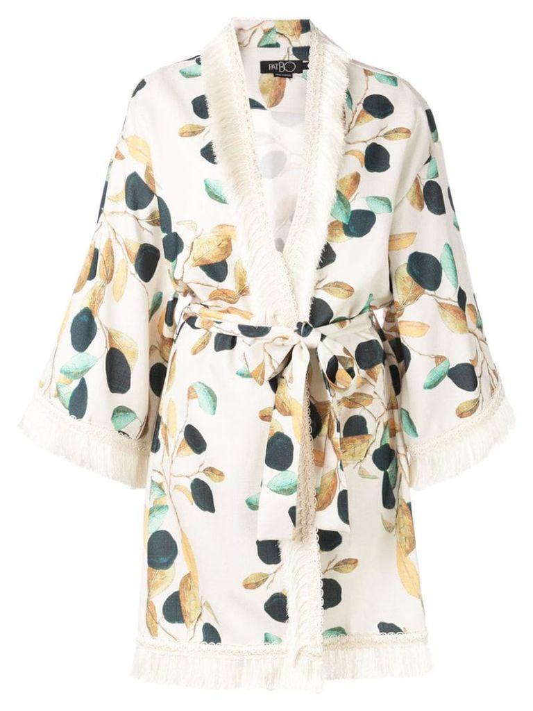 Patbo leaf printed kimono - White