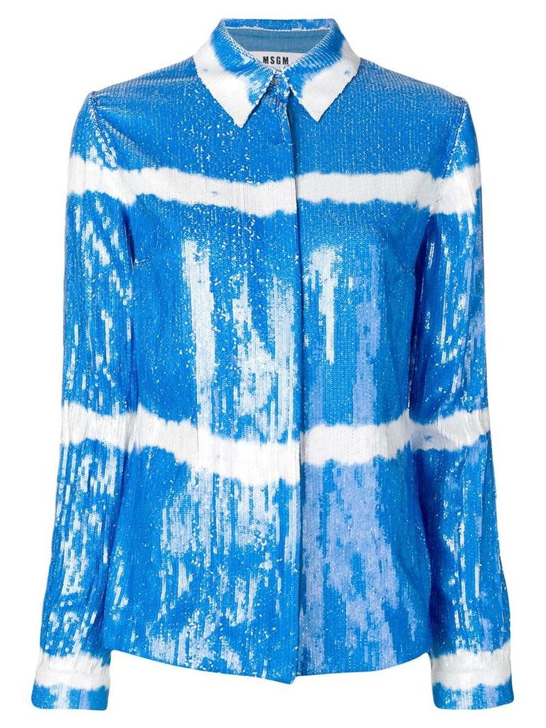MSGM sequin shirt jacket - Blue
