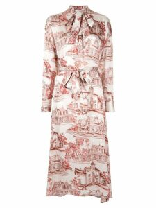 Co house print midi dress - White