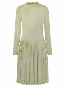 Burberry Chain Detail Pleated Stretch Silk and Crepe Dress - Green