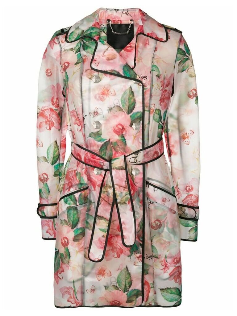 Philipp Plein floral trench coat - Pink