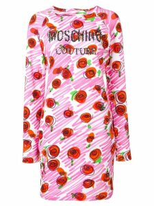 Moschino rose logo fitted dress - Pink