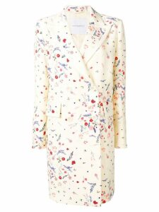 Ermanno Scervino floral print double-breasted coat - White