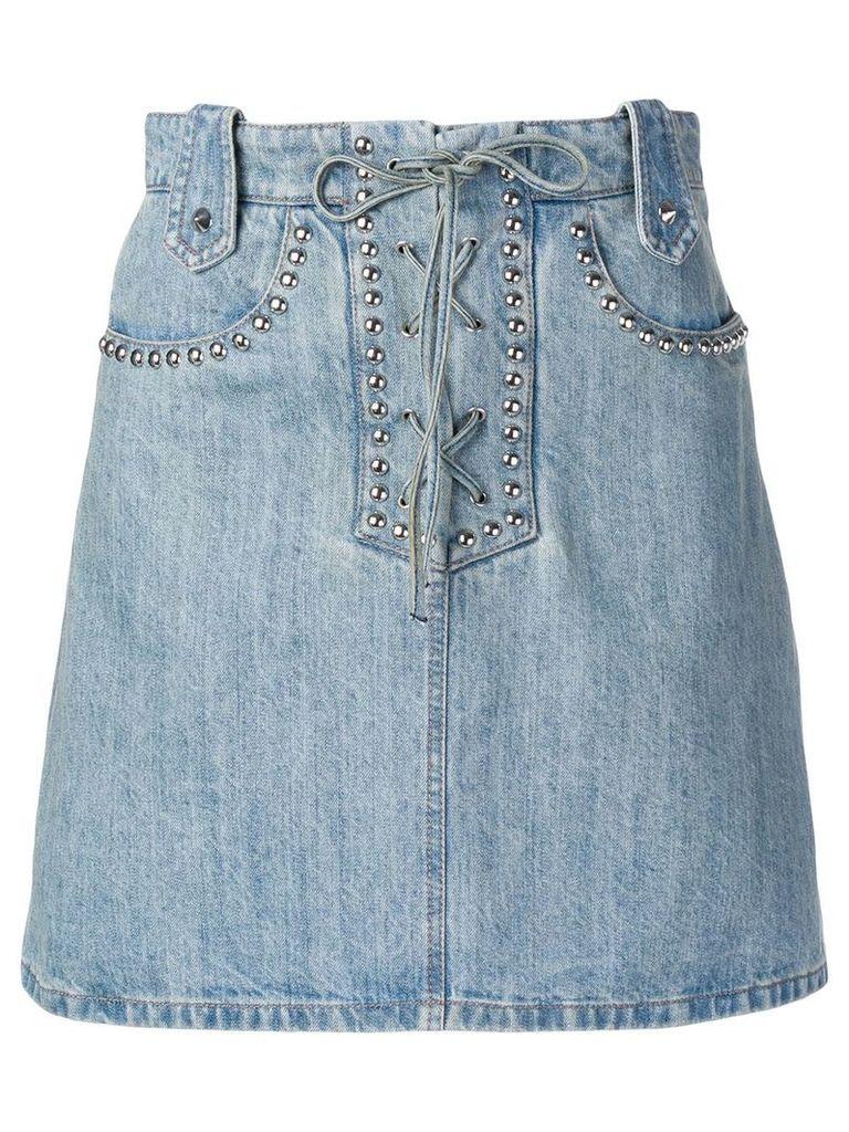 Miu Miu studded lace-up denim skirt - Blue