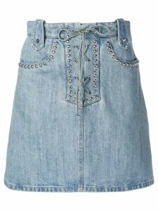 Miu Miu studded lace-up denim skirt - Blue