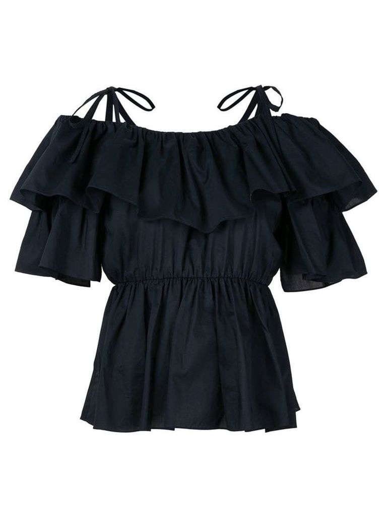 Goen.J ruffled ribbon tie top - Blue