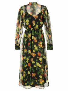 MSGM fruit print midi dress - Black
