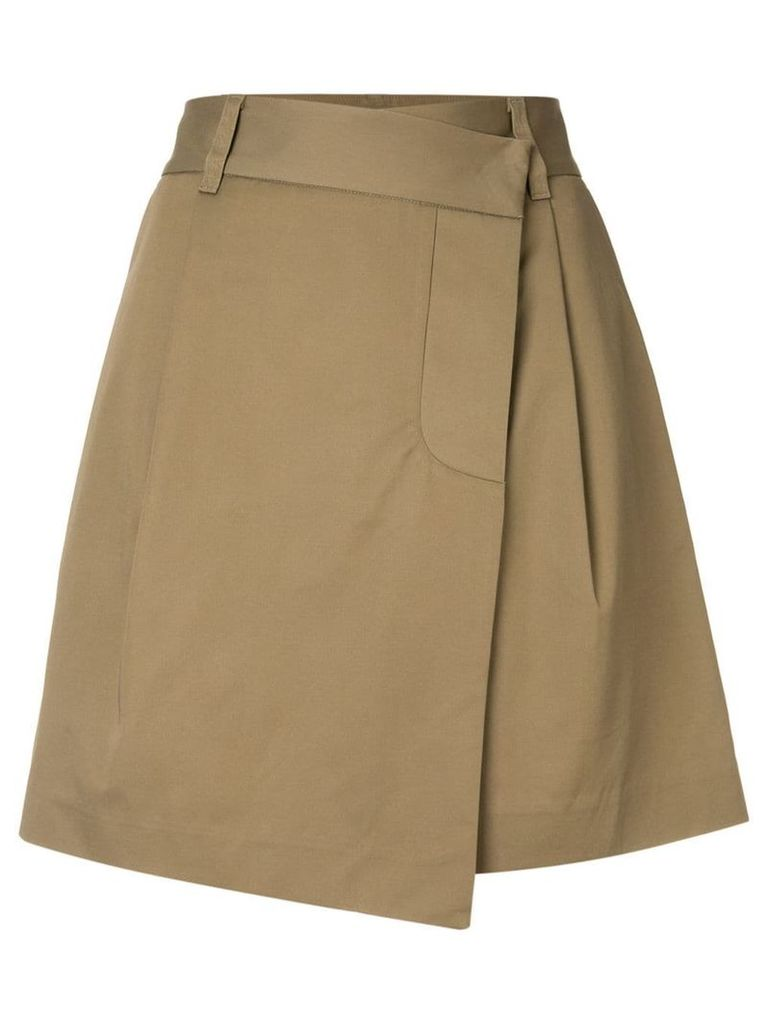 Goen.J asymmetric mini wrap skirt - Brown
