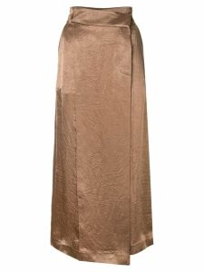 Goen.J asymmetric wrap skirt - Brown