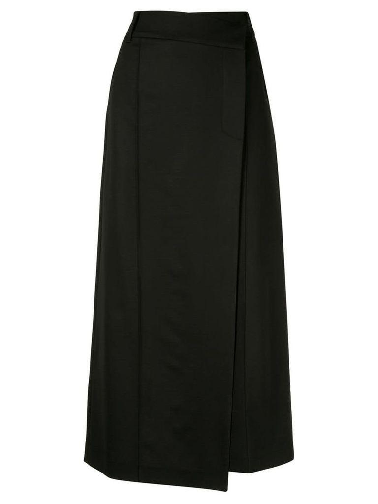 Goen.J asymmetric wrap skirt - Black
