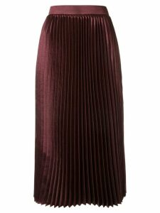 Goen.J pleated midi skirt - Red