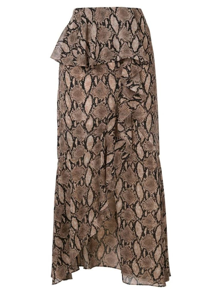 Goen.J snake print skirt - Brown