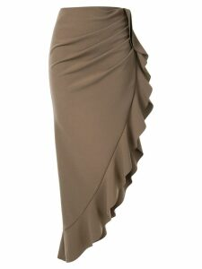 Goen.J Samara asymmetric hem skirt - Brown