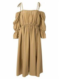 Goen.J voluminous shape gathered dress - Brown