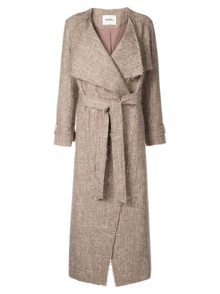 Goen.J Frayed tweed long coat - Brown