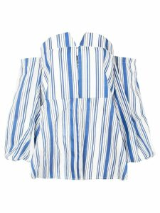 Jovonna striped off-the-shoulder top - Blue