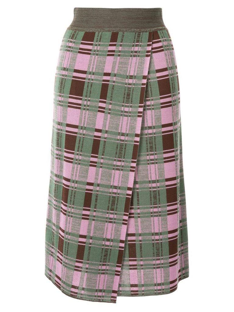 Goen.J Daria check-printed jacquard knit midi skirt - Multicolour