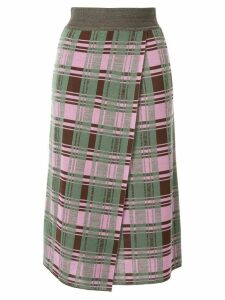 Goen.J Daria check-printed jacquard knit midi skirt - Multicolour