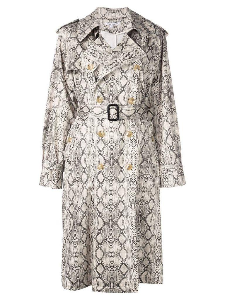Les Reveries snakeskin print coat - White