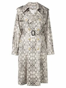 Les Reveries snakeskin print coat - White