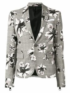 Neil Barrett check floral blazer - Grey