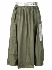 GANNI metallic patch skirt - Green