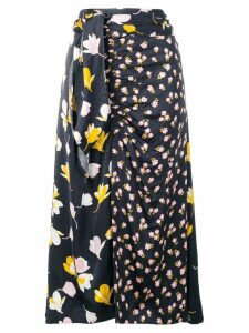 Self-Portrait floral wrap detail skirt - Black