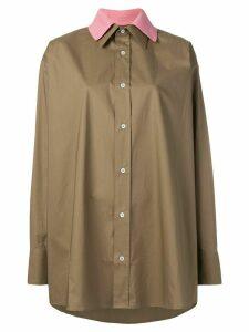 Plan C contrast collar shirt - Brown