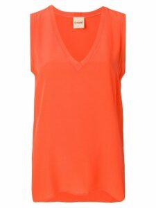 Nude v-neck top - Orange