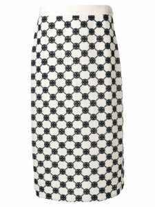 Tory Burch logo midi skirt - White