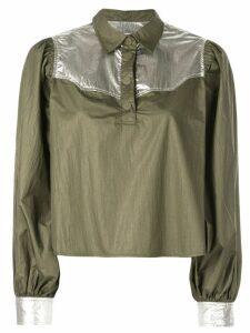 Ganni metallic patch shirt - Green