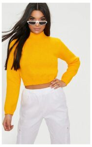 Bright Yellow High Neck Soft Cropped Jumper, Yellow