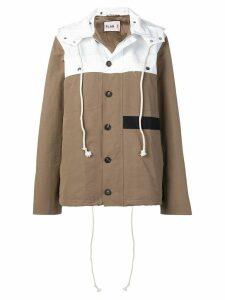 Plan C two-tone hooded jacket - Brown