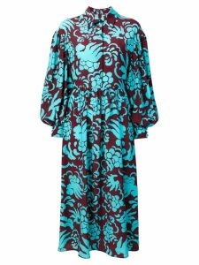 Valentino floral print shirt dress - Blue