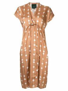 Jejia dots v-neck dress - Brown
