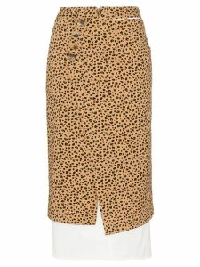 Rejina Pyo leopard print high-waisted double layer cotton skirt -