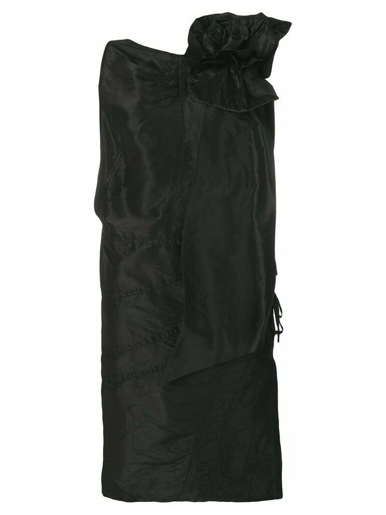 Miu Miu rose appliqué taffeta dress - Black