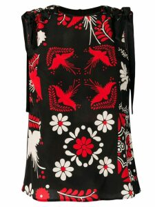 Red Valentino Decorated Terrace printed top - Black