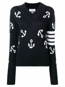 Thom Browne 4-Bar Anchor Icon Intarsia Pullover - Blue