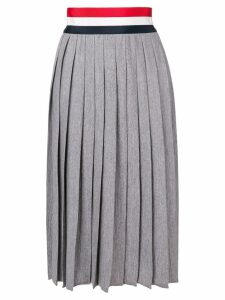 Thom Browne Rwb Grosgrain Waistband Wool Skirt - Grey