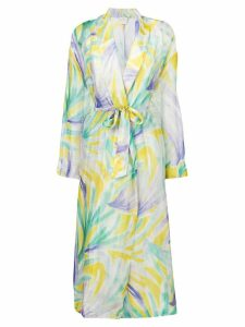 Forte Forte abstract print belted coat - Green