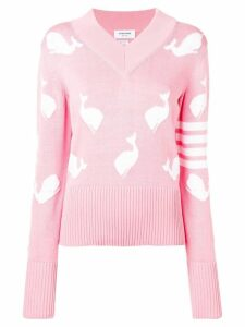 Thom Browne 4-Bar Whale Icon Intarsia Pullover - Pink