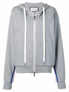 Roqa side stripe zip front hoodie - Grey