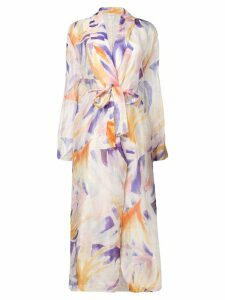 Forte Forte abstract print belted coat - Orange