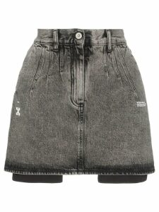 Off-White High-waisted acid wash denim skirt - Black