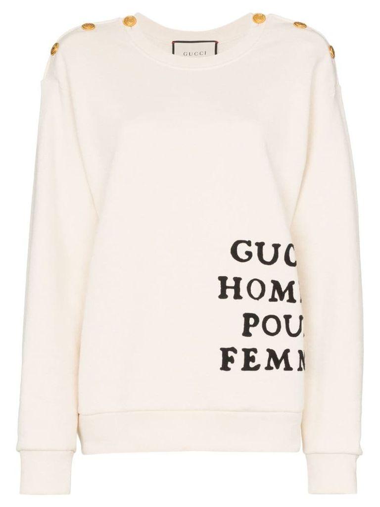 Gucci buttoned shoulder embroidered cotton jumper - Neutrals
