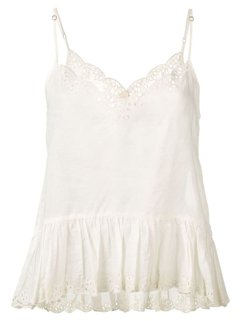 Semicouture embroidered ruffle top - Neutrals